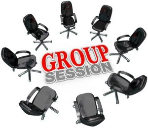 10530565 - a number of chairs gathered in a circle around the words group session for a meeting or interaction with several people for therapy or business brainstorming or sharing ideas